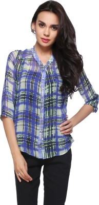 Delfe Women's Printed Casual Purple Shirt