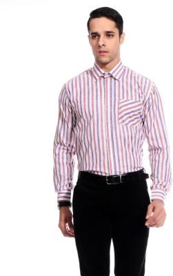 Goodkarma Men's Striped Formal Purple Shirt