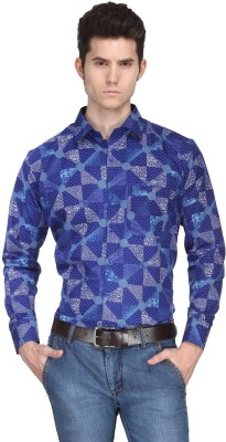 Ausy Men's Printed Casual Blue Shirt