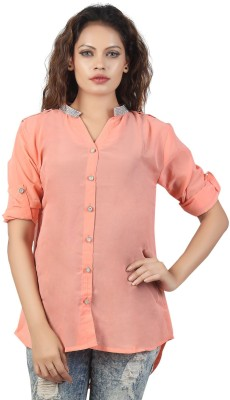 Famglam Women's Solid Casual Pink Shirt