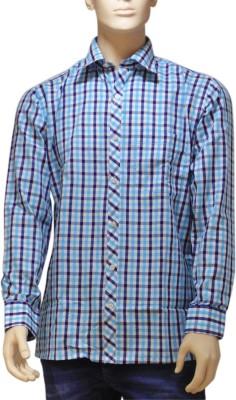 EXIN Fashion Men's Checkered Formal Blue, Black, White Shirt