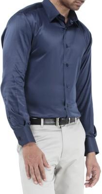 Genesis Men's Solid Casual Dark Blue Shirt