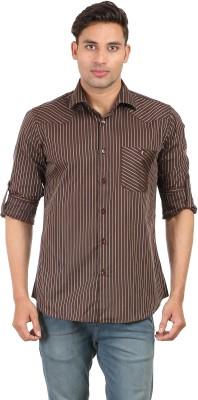 Don Vino Men's Striped Casual Brown, Grey Shirt