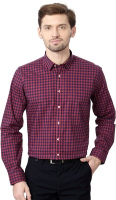 Van Heusen Men's Checkered Formal Pink Shirt