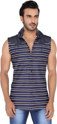 Mode De Base Italie Men's Striped Casual Dark Blue, Black, White Shirt