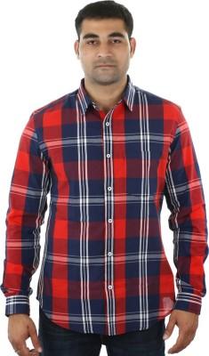 I cube club Men's Striped Casual Blue, Red Shirt