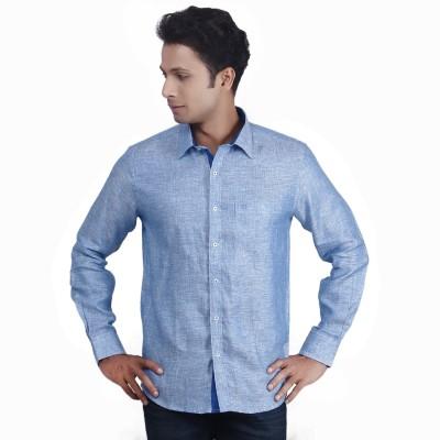 Nanya Men's Solid Casual Linen Light Blue Shirt