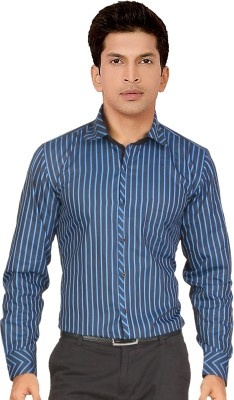 Red Country Men's Striped Casual Dark Blue Shirt