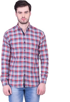 THE SHIRT FACTORY Men's Checkered Casual Red Shirt