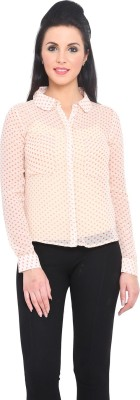 Phenomena Women's Polka Print Casual Beige Shirt