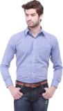 Jogur Men's Striped Casual Blue Shirt