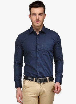 You Forever Men's Solid Casual Blue Shirt