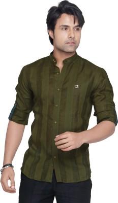 Matchles Men,s Striped Casual Linen Green Shirt