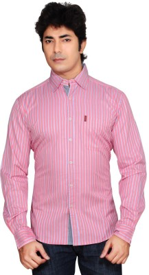 Ubho Core Men's Striped Casual Pink Shirt