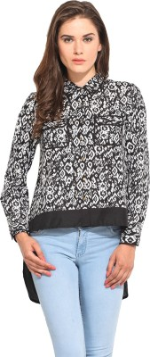 Instacrush Women's Printed Casual Black Shirt
