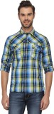 T-Base Men's Checkered Casual Blue, Yell...