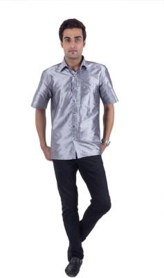 Scot Wilson Men's Solid Casual Grey Shirt