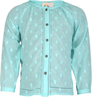 Budding Bees Baby Girl's Solid Casual Light Green Shirt