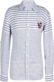 UFO Boys Striped Casual White Shirt