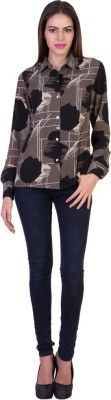 Crosstitch Women's Printed Party Brown Shirt