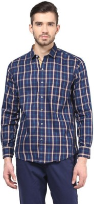 The Vanca Men's Checkered Casual Blue Shirt