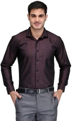 Harvest Men's Solid Formal Maroon Shirt