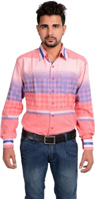 Riwas Collection Men's Printed Casual Pink, Red Shirt