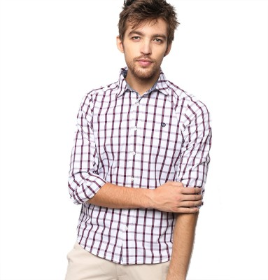American Swan Men's Checkered Casual White Shirt
