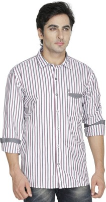 Kingswood Men's Striped Casual Maroon Shirt