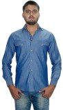 The GreeK Men's Solid Casual Light Blue ...