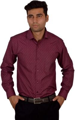 Studio Nexx Men's Printed Formal Maroon Shirt