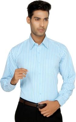 Devaa Men's Striped Formal Blue Shirt