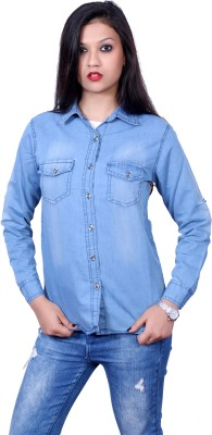 STYLE SOUK Women's Solid Casual Denim Blue Shirt