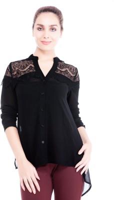Revoure Women's Solid Formal Black Shirt