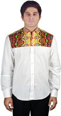 Riverbero Men's Self Design Casual White Shirt