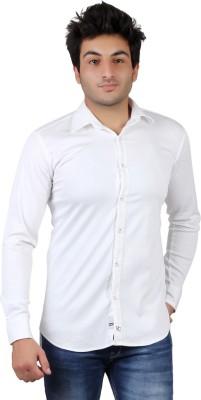 UNDERCUT Men's Self Design Casual White Shirt