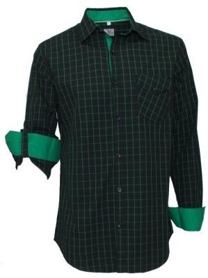 Darium Men's Checkered Casual Black, Green Shirt