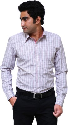 Benzoni Men's Checkered Formal White, Pink, Black Shirt