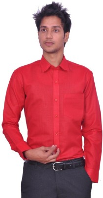 UNO COTTON Men's Solid Formal Red Shirt