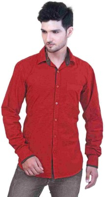 GoPlay Men's Striped Casual Maroon Shirt