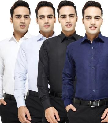 VKG Men's Solid Formal Multicolor Shirt(Pack of 4)
