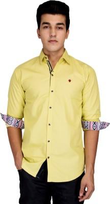 Jhon Poul Men's Solid Casual Yellow Shirt