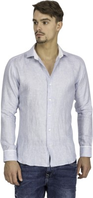 Mayank Modi Men's Checkered Casual Linen Blue Shirt
