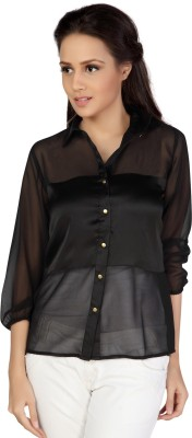 Iamyou Women's Solid Casual Black Shirt