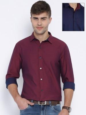 Harvard Men,s Solid Casual Reversible Pink Shirt