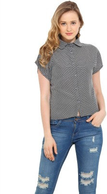 Trend Arrest Women's Printed Casual Black Shirt