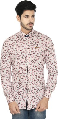 Perky Look Men's Floral Print Casual White, Red Shirt