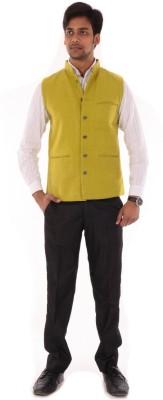 OM PRINTS Men's Self Design Casual Yellow Shirt