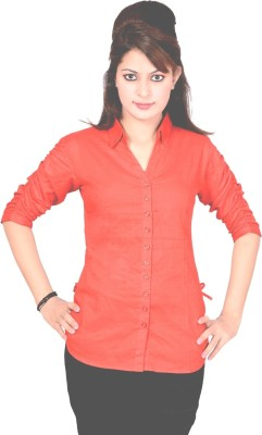 Jazzy Ben Women,s Solid Casual Red Shirt