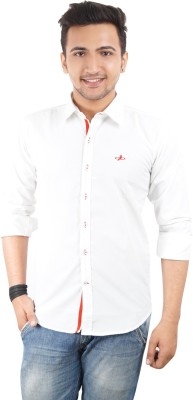 High Hill Men's Solid Casual White Shirt